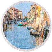 Cannareggio Canal Venice Round Beach Towel