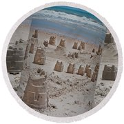 Canned Castles Round Beach Towel