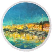 Cannes By Night Round Beach Towel