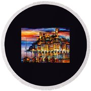 Cannes-france - Palette Knlfe Oil Painting On Canvas By Leonid Afremov Round Beach Towel