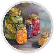 Canning Jars Round Beach Towel