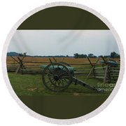 Cannon At Gettysburg Round Beach Towel