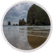 Cannon Beach Haystack Reflection Round Beach Towel