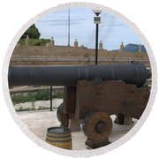 cannon of the old fort Corfu Round Beach Towel
