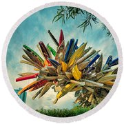 Canoe Art Round Beach Towel