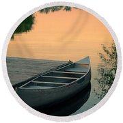 Canoe At A Dock At Sunset Round Beach Towel by Jill Battaglia