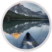 Canoe At Lower Waterfowl Lake With Round Beach Towel