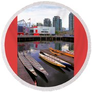 Canoe Club And Telus World Of Science In Vancouver Round Beach Towel