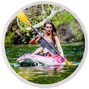 Canoe For Girls Round Beach Towel