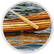 Canoe Lines And Reflections Round Beach Towel