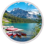 Canoe Livery On Emerald Lake In Yoho Np-bc Round Beach Towel