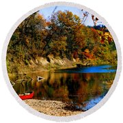 Canoe On The Gasconade River Round Beach Towel
