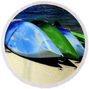 Canoe Shadows Round Beach Towel by Karen Wiles