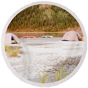 Canoe Tent Camp At Yukon River In Taiga Wilderness Round Beach Towel
