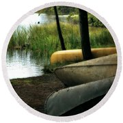 Canoe Trio Round Beach Towel