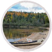 Canoe With An Engine Round Beach Towel