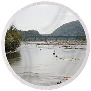 Canoeing On The Potomac River At Harpers Ferry Round Beach Towel