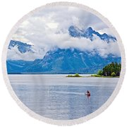 Canoeing In Colter Bay In Grand Teton National Park-wyoming Round Beach Towel