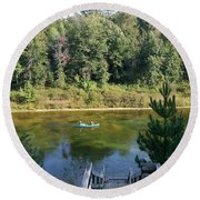 Canoeing Michigan's Au Sable Round Beach Towel