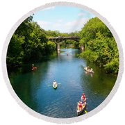 Canoeing The Springs Round Beach Towel