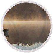 Canoeist On A Golden Misty Morning Round Beach Towel