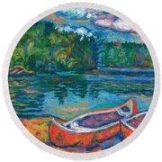 Canoes At Mountain Lake Sketch Round Beach Towel