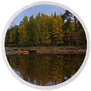 Canoes On The Shore At Loch An Eilein Round Beach Towel
