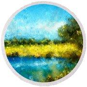 Canola Fields Impressionist Landscape Painting Round Beach Towel
