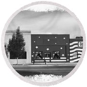 Canon City Facades - Black And White Edge Burn Round Beach Towel