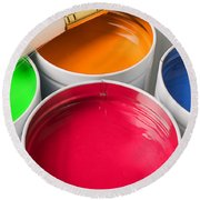 Cans Of Colored Paint Round Beach Towel