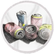 Cans Sketch Round Beach Towel