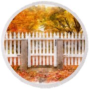 Canterbury Shaker Village Picket Fence  Round Beach Towel