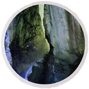 Canyon Creek Narrows And Spills Thousands Of Gallons A Minute  Round Beach Towel
