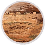 Canyon Dechelly Pueblo Ruins Round Beach Towel