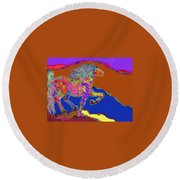 Canyon Horse Round Beach Towel