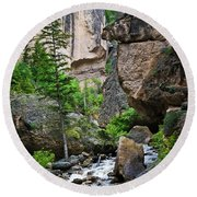 Canyon Serenity - Crazy Woman Creek - Crazy Woman Canyon - Johnson County - Wyoming Round Beach Towel