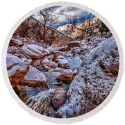 Canyon Stream Winterized Round Beach Towel