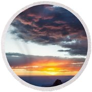 Canyon Sunset Round Beach Towel by Dave Bowman