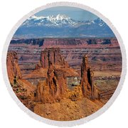 Canyon View From Mesa Arch Overlook Round Beach Towel