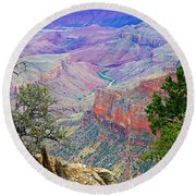 Canyon View From Walhalla Overlook On North Rim Of Grand Canyon-arizona  Round Beach Towel