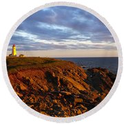 Cape Anguille Lighthouse Round Beach Towel