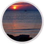 Cape Charles Rocky Sunset  Round Beach Towel