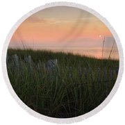 Cape Cod Bay Sunset Round Beach Towel