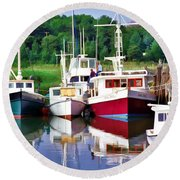 Cape Cod Harbor  Round Beach Towel