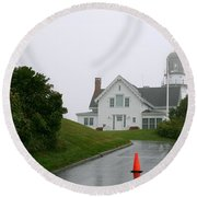 Cape Elizabeth On A Rainy Day- Maine Round Beach Towel