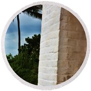 cape Florida light door Round Beach Towel
