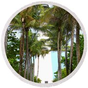 Cape Florida Walkway Round Beach Towel