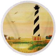 Cape Hatteras Light At Sunset Round Beach Towel