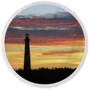 Cape Hatteras Lighthouse At Sunset Round Beach Towel