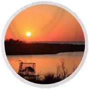 Cape Hatteras Sunset-north Carolina Round Beach Towel